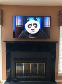above fireplace tv install